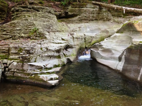 Waterslide and pool above Sullivan Falls