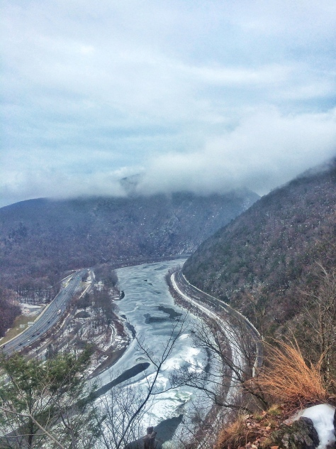 Frozen Delaware and foggy Mt Tammany